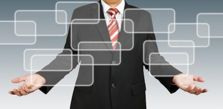 organigrama: Hombre de negocios con espacio en blanco rectangular