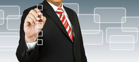 Business Hand choosing one of many options Stock Photo - 13853826