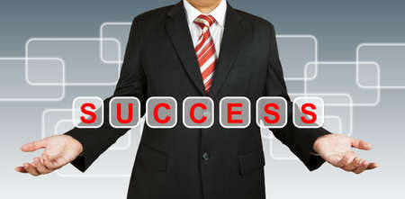Businessman with text Success photo