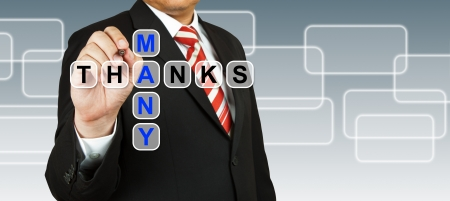 many thanks: Businessman hand drawing Many Thanks