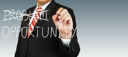 eliminate: Businessman who eliminate problem with opportunity Stock Photo