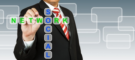 Businessman hand drawing Social Network Stock Photo - 13986194