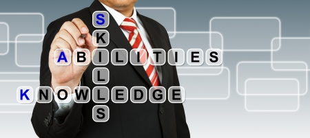 Businessman with wording Skill, Abilities, and Knowledge Stock Photo