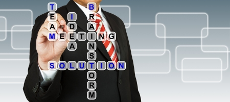 leadership qualities: Businessman with wording Solution from working together