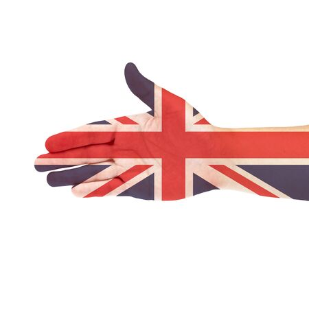 lapel: UK flag on hand Stock Photo
