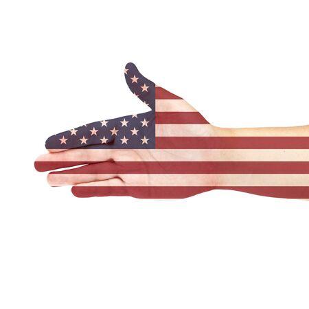 US flag on hand photo