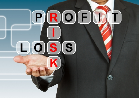 Businessman hand drawing Profit, Risk, and Loss photo