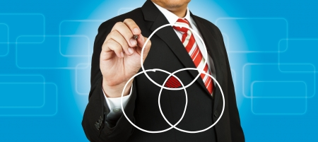 core strategy: Businessman drawing intersected circle diagram and shadow the intersection