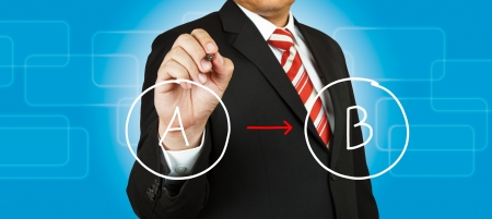 Businessman drawing circle diagram Stock Photo - 14854479