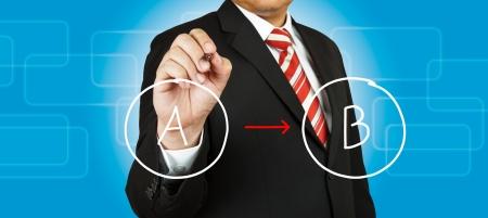 Businessman drawing circle diagram Stock Photo - 14854479