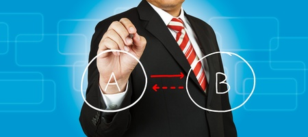 Businessman drawing circle diagram Stock Photo - 14854482