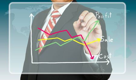 Businessman draw a chart about profit and cost photo