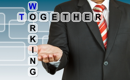 Businessman with wording Working Together photo