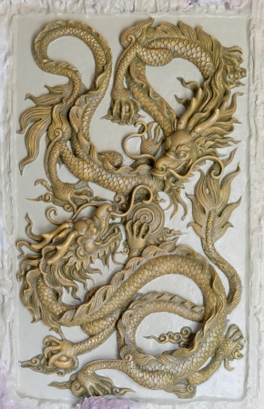 head protection: Dragon Sculpture on a wall