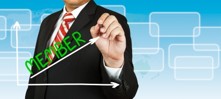 Businessman drawing a graph with Member going up photo