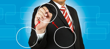 Businessman drawing circle diagram Stock Photo - 14989890