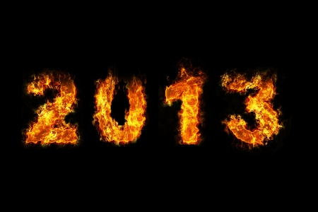 0 1 year: Year 2013 on fire Stock Photo