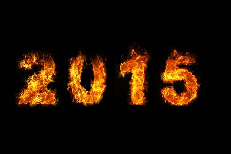 Year 2015 on fire Stock Photo - 16579654