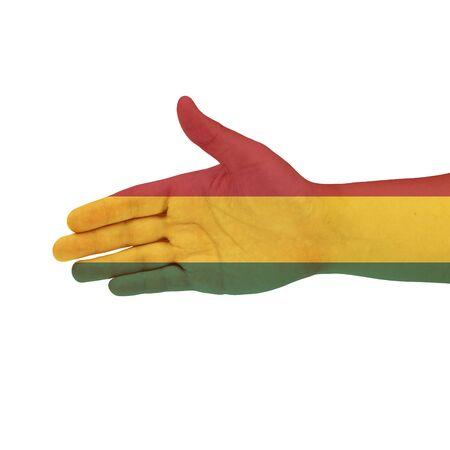 bandera de bolivia: Bandera de Bolivia en la mano aisladas sobre fondo blanco