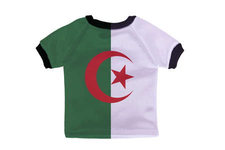 Small shirt with Algeria flag isolated on white background photo