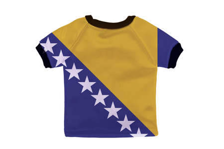 Small shirt with Bosnia and Herzegovina flag isolated on white background photo