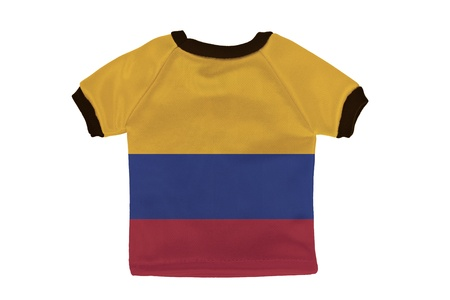 Small shirt with Colombia flag isolated on white background photo