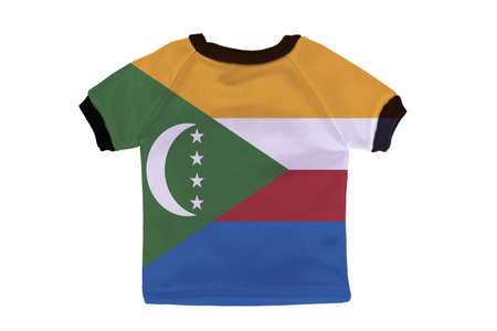 comoros: Small shirt with Comoros flag isolated on white background