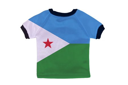 Small shirt with Djibouti flag isolated on white background photo
