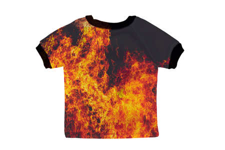 Small shirt with fire isolated on white background photo