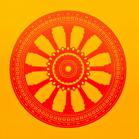Buddha sign, Dhammajak, on yellow wall photo