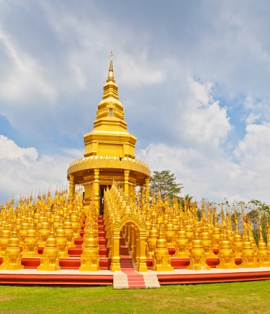 venerate: Top five hundred pagodas in Wat pasawangboon Saraburi, Thailand Stock Photo