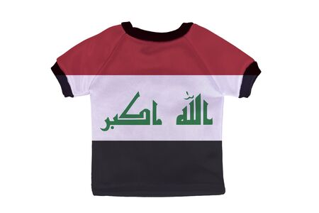 iraq flag: Small shirt with Iraq flag isolated on white background
