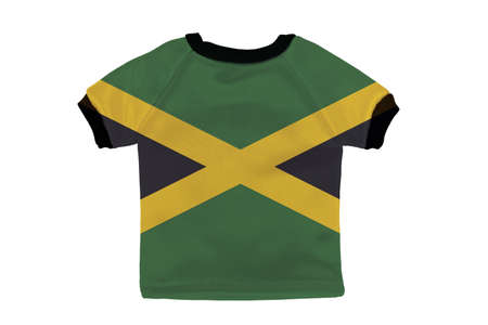 Small shirt with Jamaica flag isolated on white background photo