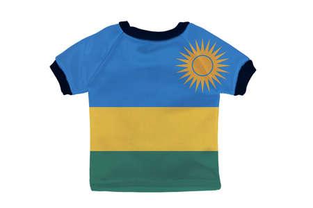 Small shirt with Rwanda flag isolated on white background photo