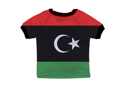 Small shirt with Libya flag isolated on white background photo