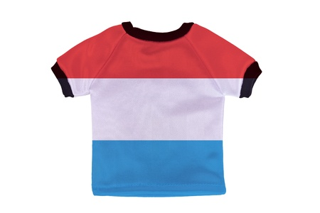 Small shirt with Luxembourg flag isolated on white background photo