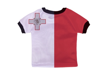 Small shirt with Malta flag isolated on white background photo