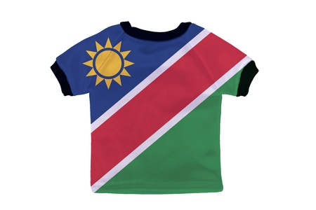 Small shirt with Namibia flag isolated on white background photo