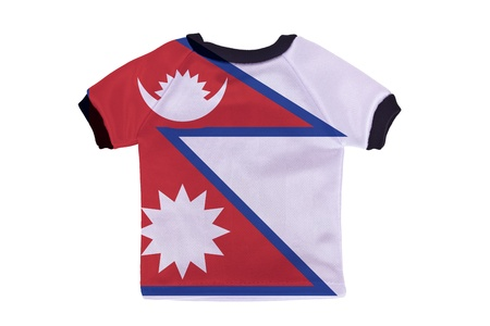 Small shirt with Nepal flag isolated on white background photo