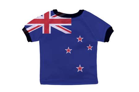 Small shirt with New Zealand flag isolated on white background photo