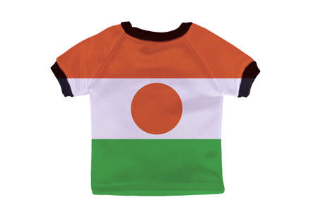 Small shirt with Niger flag isolated on white background photo