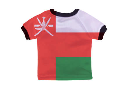 oman background: Small shirt with Oman flag isolated on white background
