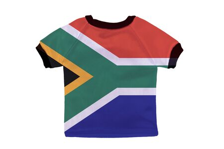 Small shirt with South Africa flag isolated on white background photo