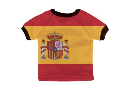 Small shirt with Spain flag isolated on white background photo
