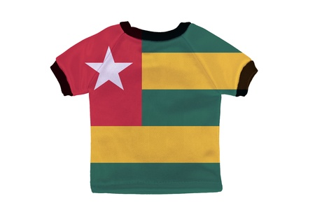 Small shirt with Togo flag isolated on white background photo