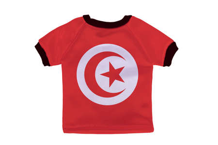 Small shirt with Tunisia flag isolated on white background photo