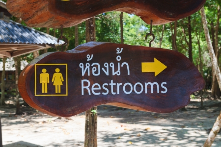 Restroom sign on wood board photo
