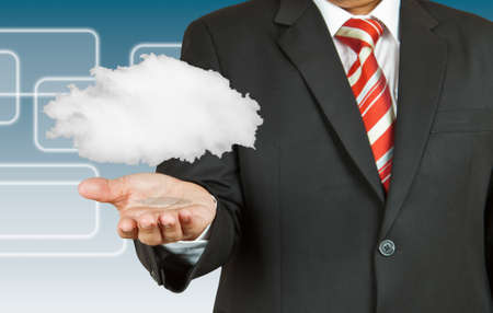 cloud transfer: Businessman and cloud computing