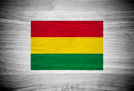 Bolivia flag on wood texture photo