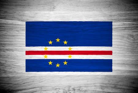 cape verde flag: Cape Verde flag on wood texture Stock Photo